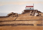Bei aufgehender Sonne, Kapelle auf dem Felsen, Mykonos 89 x 68 cm, Tusche-Punkttechnik und Aquarell