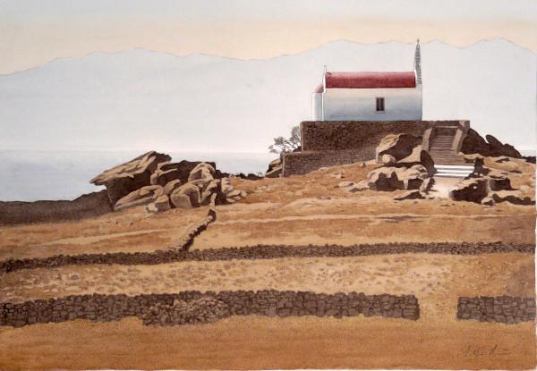 Bei aufgehender Sonne, Kapelle auf dem Felsen, Mykonos 89 x 68 cm, Tusche-Punkttechnik und Aquarell - Ungerahmt